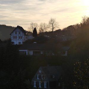 Fachwerkhaus, Monschau, Sonnenuntergang, Dämmerung