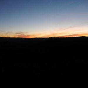 Eifel, Sonnenuntergang, Windräder, Dunkelheit, Himmel, Rosa Wolken
